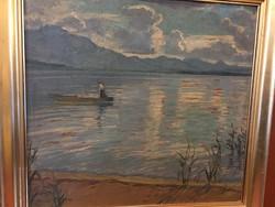 Illenz Lipót : Csónakos a hegyi tavon 1931