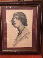 H. Moretti szignóval : Art deco hölgy