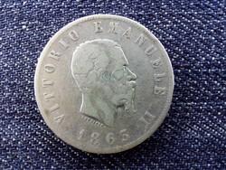 Olaszország II. Viktor Emánuel (1861-1878) .835 ezüst 2 Líra 1863 N / id 13898/