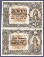 1000 Korona 1920 UNC egymás utáni sorszámokkal