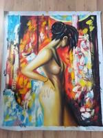 Modern, női alakot ábrázoló olaj festmény