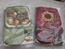 Új-3 részes konyhai szett-edényfogó kesztyű,törlőruha, alátét -ajándékba is
