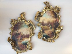 Antik Julius Dressler barokk faliképek párban