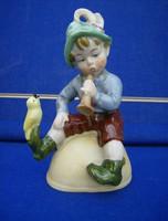 Fiú, madár régi német porcelán