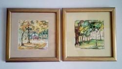 Fehér Margit képzőművész 2 db akvarell tájképe