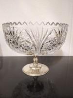 Kristályüveg asztalközép ezüst talppal