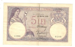 5 lei 1920 március Románia 2.