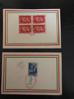 1948.március15 Emlék lap  2 db elsônapi bélyegzéssel Centenárium  8 f. 4-es ív .