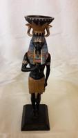Egyiptomi fáraó szobor és tömbgyertyatartó