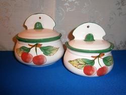 2 db kerámia fali sótartó, cukortartó, fűszertartó cseresznye mintával