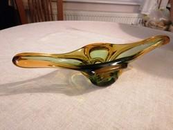 Különleges és egyedi, muránói stílusú, nagy méretű, művészi, gondola formájú asztalközép/ kínáló.