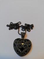 Ezüst markazit köves, Onix szív medál 17,88 gramm 925