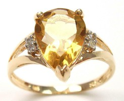 Tömör arany gyűrű természetes gyémánt és citrin kövekkel