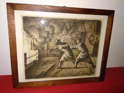 19. sz.-i fémmunkásokat ábrázoló szépia színű régi tus rajz, festmény kép kohómunkásokról