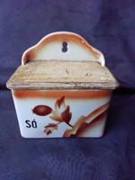 Gránit budapesti porcelángyárból sótartó,fűszertartó eredeti fa fedelével.