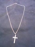 925-ös sterling ezüst nyaklánc, szintén sterling ezüst kereszt medállal. Hibátlan. Karácsonyra .