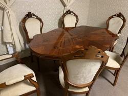 Újrakárpitozva! Neobarokk étkező szett 6 db székkel!