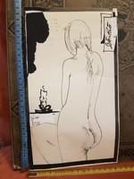 Grafika/festmény/akvarell csomag, sok remekmű, olcsón! Technikát, méretet jeleztem! Szánthó Imre