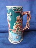 Cc.1910.Vadász jelenetes, figurális, nagy méretű korsó,kupa. Hibátlan. Jelzett, sorszámozott.