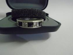 Káprázatos galambvérvörös színű rubin és topáz köves ezüst gyűrű élőben csodás darab
