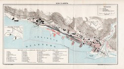 Fiume és kikötője, térkép, 1894, eredeti, magyar nyelvű, lexikon melléklet, tenger, kikötő, hajó