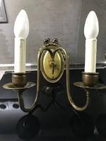 Antik réz falikarok selyem lámpaernyővel, 2 db