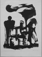 Szatyor Győző Kalevala illusztráció a XXI. énekhez, metszet 1986