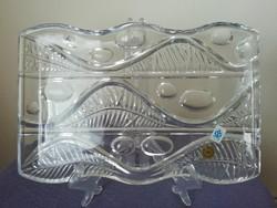 Csehszlovák Poltár kristályüveg tál,kínáló,asztalközép
