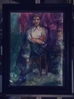 Szőnyi tanítvány, Juhász Erika festőművész (1926-2018) pasztell rajza, a 90es évekből