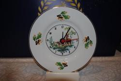 Porcelán fali óra vadas mintás 20,5 cm