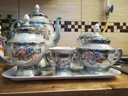 Porcelán kávéskészlet gyöngyházfényű virágmintával