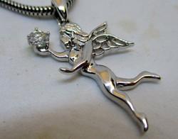 Csodaszép 0.1ct moissanit gyémántos tündér ezüst medál lánccal