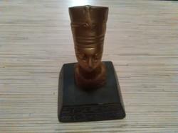 Egyiptomi istenség réz szobor talapzaton