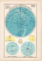 Déli csillagos ég térkép 1890, német, atlasz, eredeti, Hartleben, csillagászat, dél, égbolt, csillag