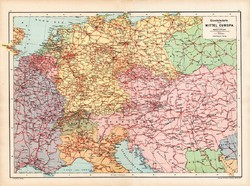 Közép - Európa vasúti térkép 1890, német, atlasz, eredeti, Hartleben, monarchia, vasúthálózat, régi
