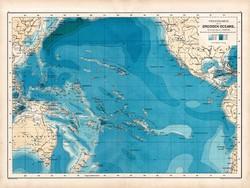 Csendes (Nagy) - óceán térkép 1890, német, atlasz, eredeti, Hartleben, mélység, víz, Óceánia, régi