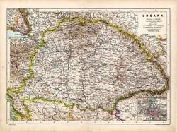 Nagy - Magyarország térkép 1890, német, atlasz, eredeti, Hartleben, megye, megyei, Budapest, régi