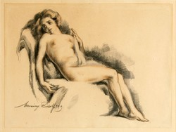 Merényi Rudolf (1893-1957)  Női Akt Ceruzarajz 30x36cm 1923.