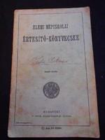 Elemi Népiskolai Értesítő könyvecske, 1935-ből, Somogy-Gyékényesi Romai Kath. Népiskola