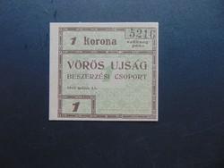 1 korona 1919 Vörös Ujság