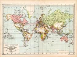 Világtérkép 1890, német, atlasz, eredeti, Hartleben, gyarmatok, világforgalom, térkép, Föld, világ
