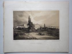 Keleti Gusztáv: Sárospatak. Litográfia az eredeti(!) Tokaj-hegyaljai albumból (Pest, 1867)