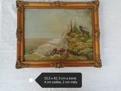 Gy. Béla, vadászjelenetes olajkép blondel keretben, vászonra festett, vadász festmény