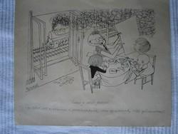 Pusztai Pál karikatúra 26x21 cm