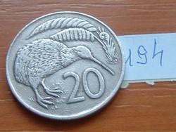 ÚJ-ZÉLAND NEW ZEALAND 20 CENT 1974 KIWI MADÁR 194.