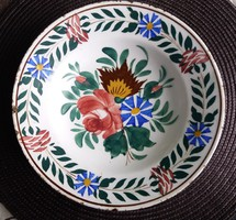 Hollóházi virágmintás fali tál (1860-1902) 23 cm./5