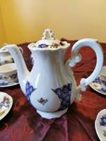 Barokk Zsolnay Marie Antoniette 5 tornyú kávés készlet