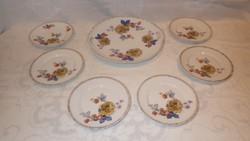 Altwien porcelán süteményes 1 + 6 db készlet