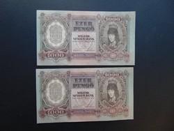 2 darab 1000 pengő 1943 Sorszámkövető hajtatlan szép bankjegyek
