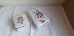 Hollóházi porcelán hajnalka mintás bonbonier 2 db